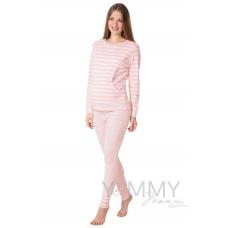 Костюм розовая белая полоска брюки + джемпер