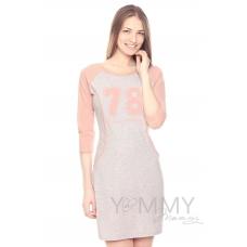 Платье для дома и сна комбинированное с принтом серый меланж