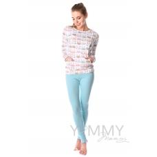"""Костюм ментоловые брюки + джемпер белый принт """"зайчики котики"""""""