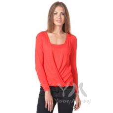 Блуза на запах с длинным рукавом красный мак