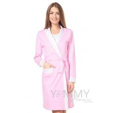 Халат розовый розовый горошек