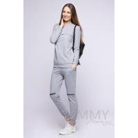 Костюм серый меланж: брюки с молниями + свитшот с секретом на молнии