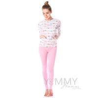 """Костюм розовые брюки + джемпер белый принт """"зайчики котики"""""""