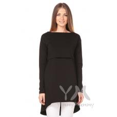 Платье с длинным рукавом с карманами черное