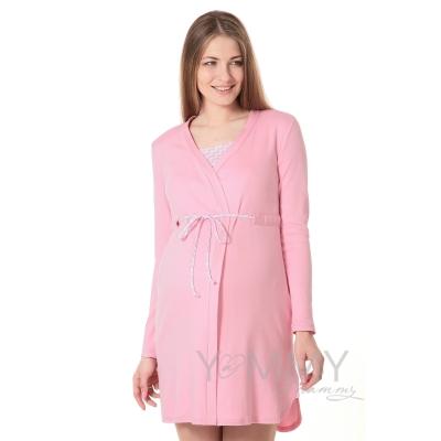 """Халат + ночная рубашка розово белый """"зиг-заг"""""""
