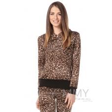 Толстовка леопардовая с капюшоном (трикотаж на меху)
