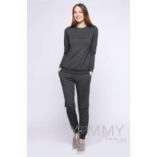 Костюм темно-серый меланж: брюки с молниями + свитшот на молнии