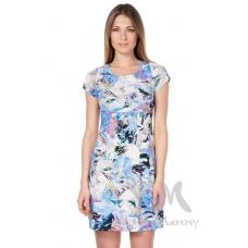 Платье с пояском экрю синий цветы