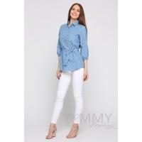 """Рубашка джинсовая голубая белые """"зонтики"""""""