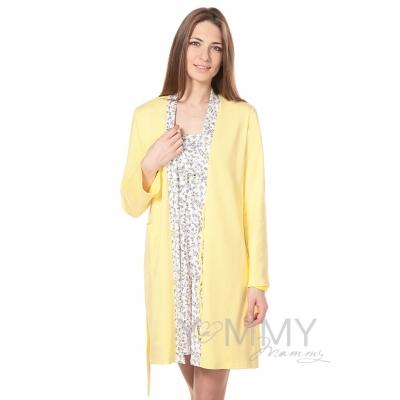 Халат + ночная рубашка желтый экрю