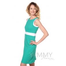 Платье лакоста зеленое с белой отделкой