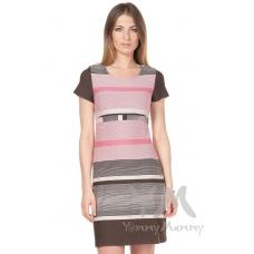 Платье с пояском розовая коричневая бежевая полоска