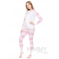 """Костюм брюки + джемпер розовый белый принт """"сердца олени"""""""