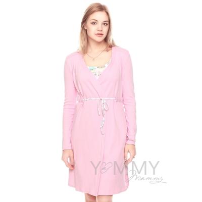 Халат + ночная рубашка розово белая