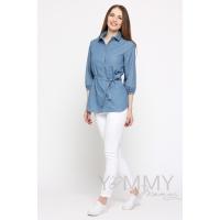 Рубашка джинсовая голубая в мелкий горошек