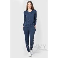 Костюм темно-синий меланж: джемпер с V-вырезом + брюки