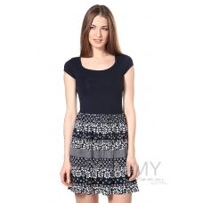 Платье темно-синее с юбкой на сборке синий белые цветы