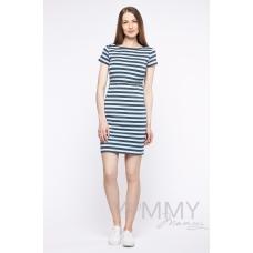 Платье голубая серая полоска