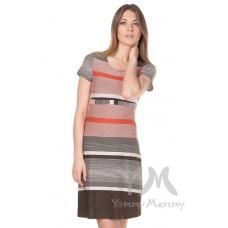 Платье с пояском теракотовая коричневая бежевая полоска
