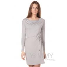 """Платье из модала серый жемчуг с вырезом """"качелька"""" с пояском"""