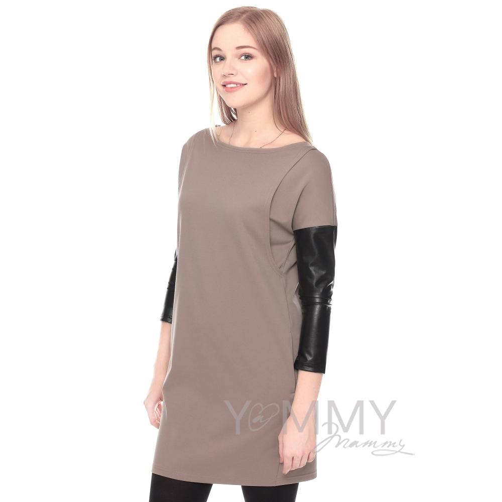 ddae5a5e2bf Платье-туника капучино с рукавами из экокожи - арт. 333.2.18-YM ...