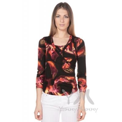Блуза с защипами коричнево оранжевая