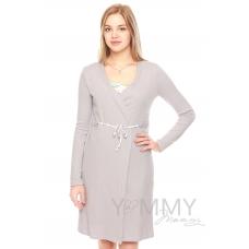 Халат + ночная рубашка серый белый