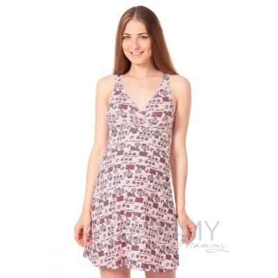 Ночная сорочка - топ светло розовая котики