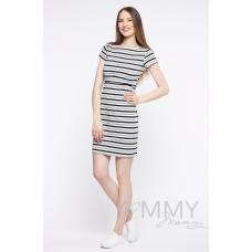 Платье белая темно-синяя серая полоска