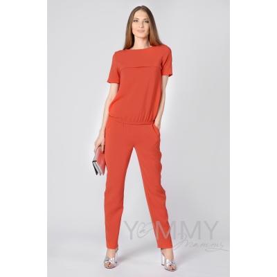Костюм-комбинезон яркий коралл: универальные брюки + блуза на молнии