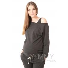 Джемпер с спущенным плечом топом темно-серый меланж