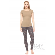Костюм брюки коричневые узор + футболка бежевая