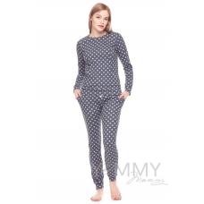 Костюм темно-серый розовые горошки брюки + джемпер