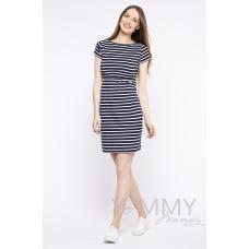 Платье белая темно-синяя полоска