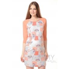 Платье для дома и сна комбинированное персик экрю совята
