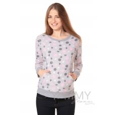 Джемпер флисовый серый розовый черный