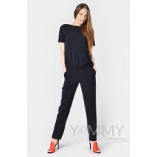 Костюм-комбинезон темно-синий: универальные брюки + блуза на молнии