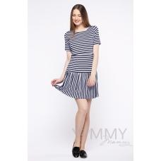 Платье с воланом синий белый полоска