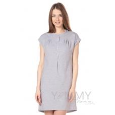 Платье на кнопках с карманами из футера серый меланж