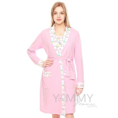 """Комплект для роддома ночнушка + халат розовый принт """"зайчики кошечки"""""""