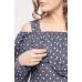 Блуза с воланом темно-синяя белый горошек