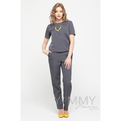Костюм-комбинезон темно-серый: универальные брюки + блуза на молнии