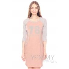 Платье для дома и сна комбинированное с принтом розовый меланж